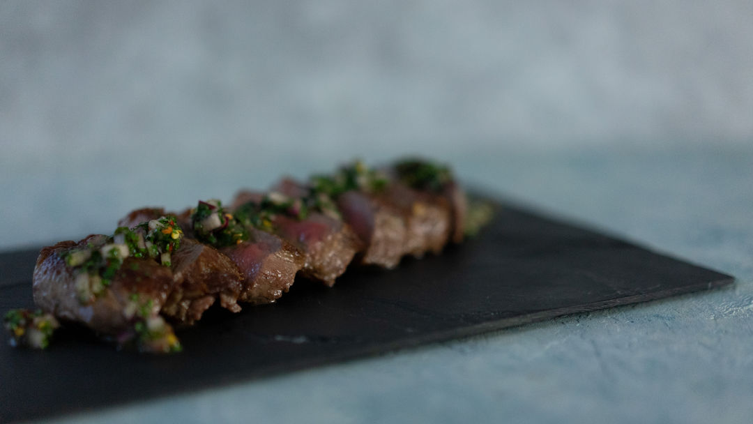 Beef on a stone plate